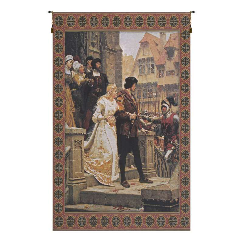 Call to Arms With Border Belgian Tapestry Wall Hanging