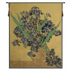 Van Gogh Iris Gold Belgian Tapestry Wall Hanging