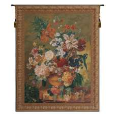 Terracotta Floral Bouquet Bright Belgian Tapestry Wall Hanging