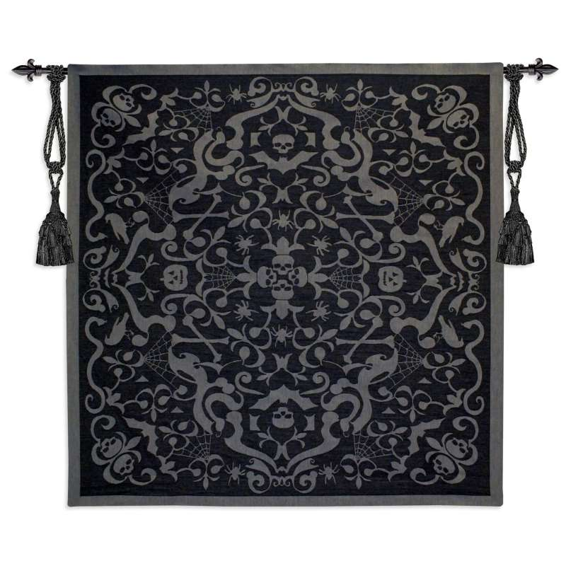 Halloween Scroll Black Holiday Tapestry Wall Hanging