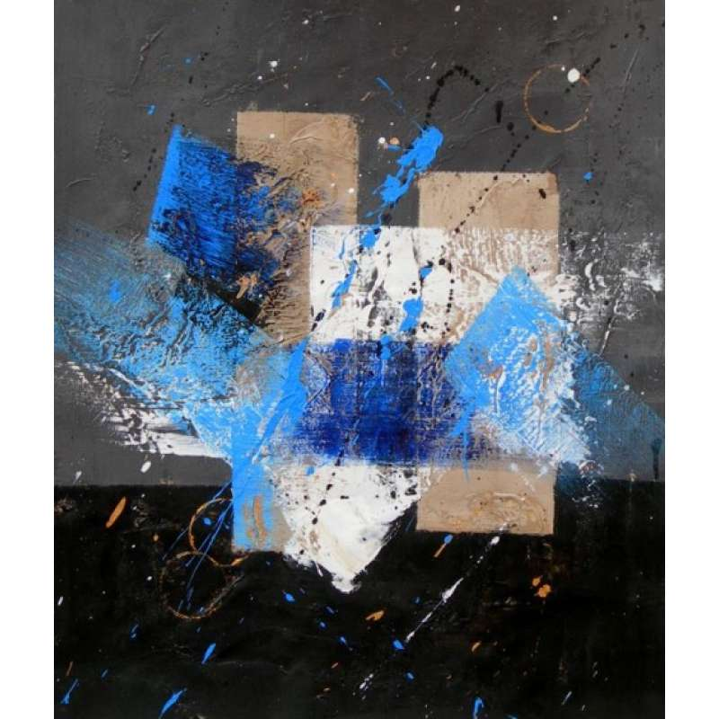 Blue, Gray and White Canvas Oil Painting