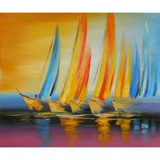 Sailboat Reflections Canvas Oil Painting