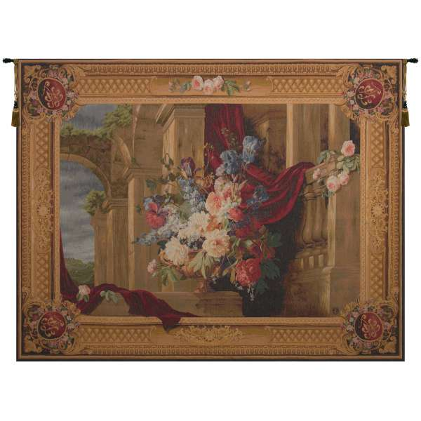 Bouquet Et Architecture Horizontal European Tapestry Wall hanging