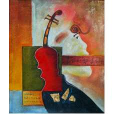 The Violin Abstract Canvas Oil Painting