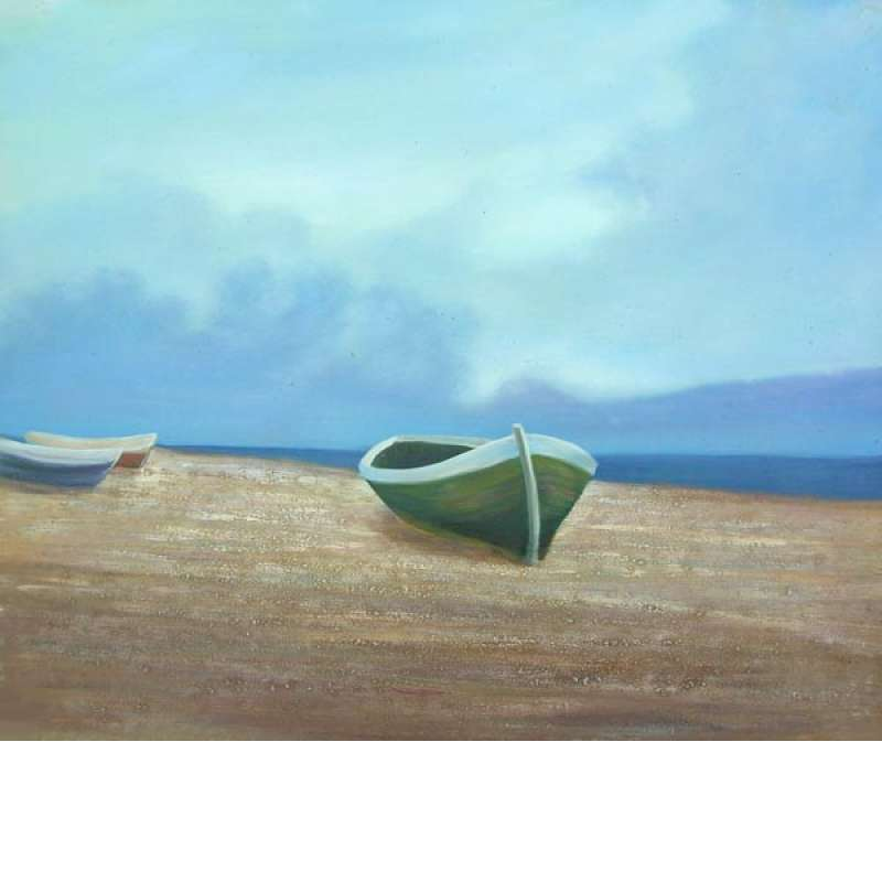 Boats under the Blue Sky Canvas Oil Painting