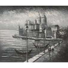 Mediterranean Boardwalk Canvas Oil Painting