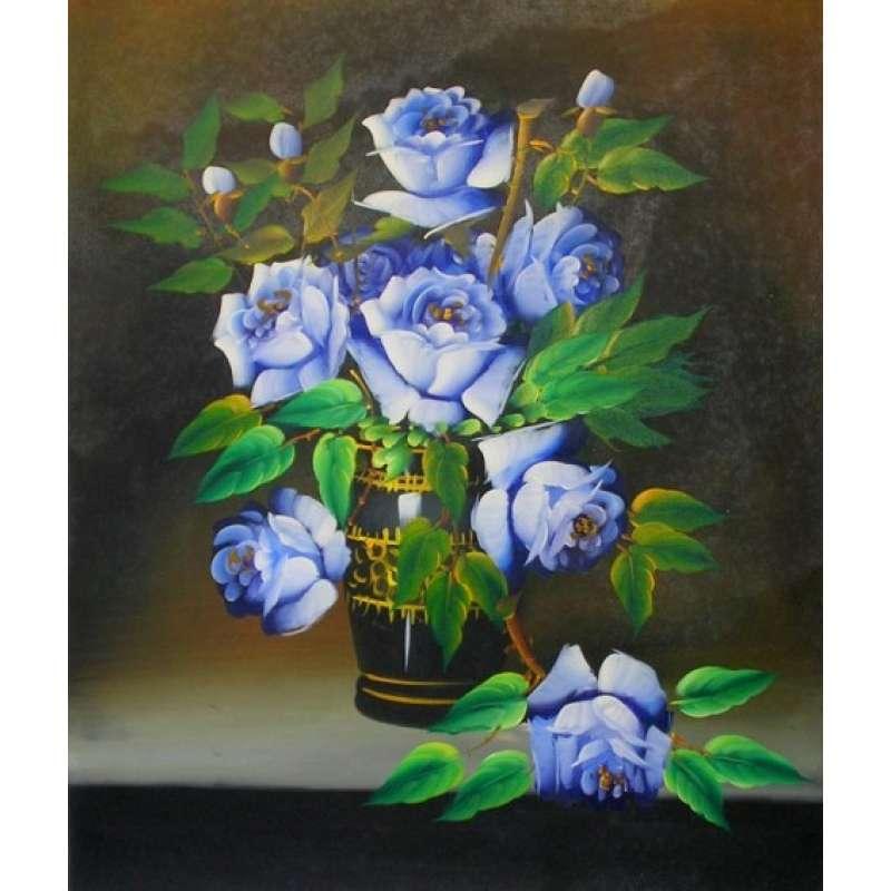 Blue Roses Canvas Wall Art