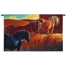 Primary Colors Horses Tapestry Wall Hanging