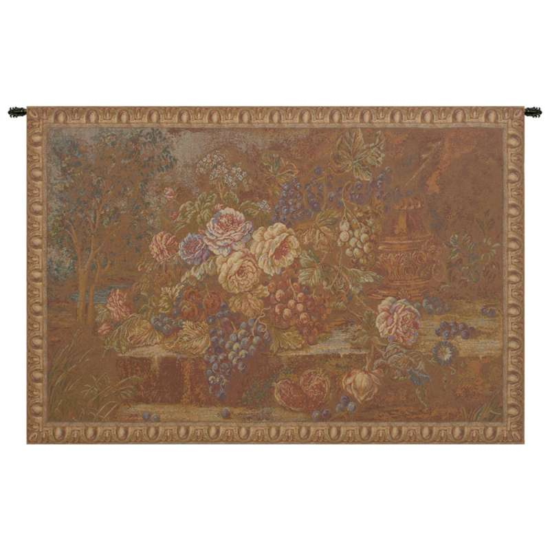 Bouquet with Grapes Red Italian Tapestry Wall Hanging