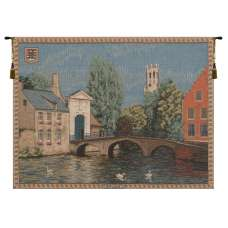Brugges Riverside with Bridge French Tapestry Wall Hanging