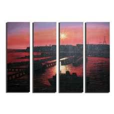 Sunset Seaport Canvas Art