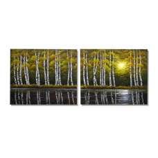 Lakeside Aspen Canvas Art
