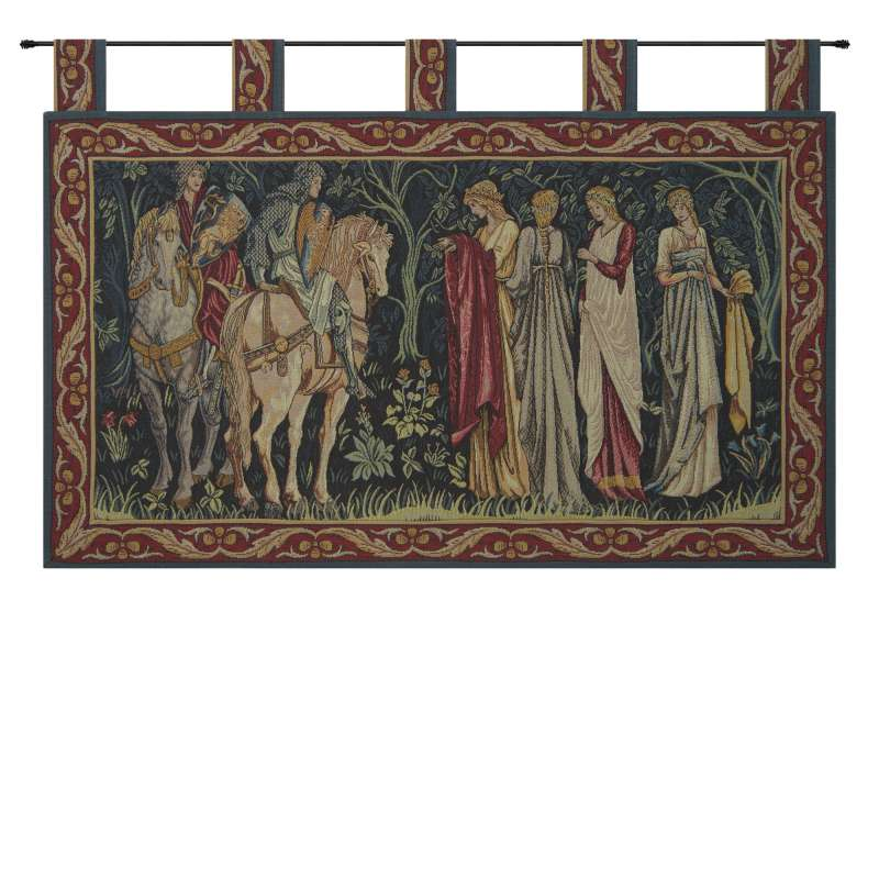 Knight and Ladies of Camelot with Loops French Tapestry Wall Hanging
