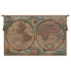Antique Map I Small Italian Tapestry Wall Hanging