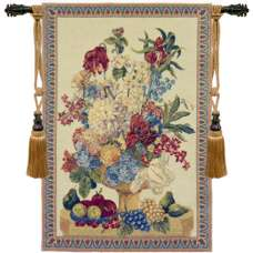 Bouquet With Grapes Vertical European Tapestry
