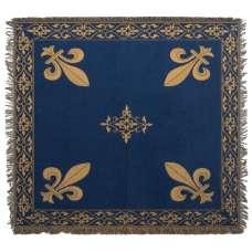 Fleur de Lys Blue European Throw