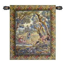 Hunters Resting Vertical Italian Tapestry Wall Hanging