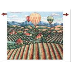 Vineyard View Morning Mist Fine Art Tapestry