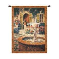 Courtyard Fountain Tapestry Wall Hanging