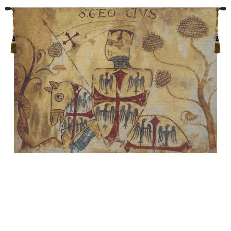 Chevaliers Left Panel Belgian Tapestry Wall Hanging