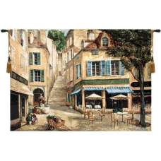 Cafe de la Place Fine Art Tapestry