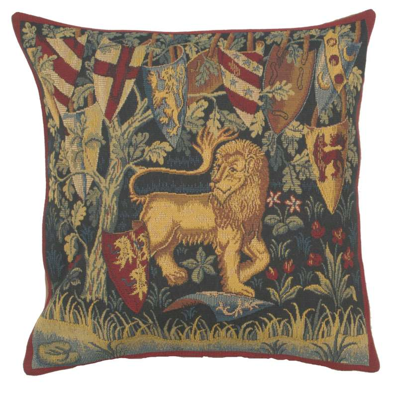 Lion Heraldique French Tapestry Cushion