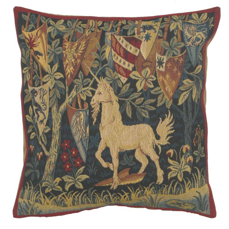 Licorne Heraldique French Tapestry Cushion