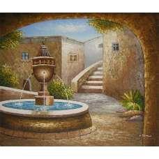 Terrace Fountain Canvas Wall Art