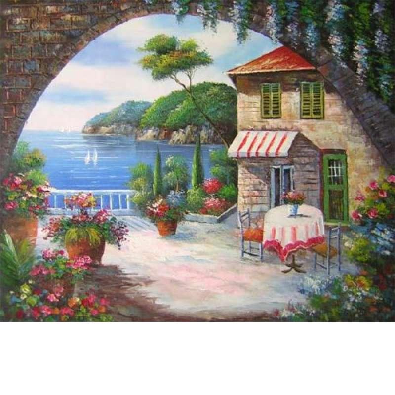 Seaside Cafe Canvas Wall Art