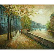 Walk Along the Canal Canvas Wall Art
