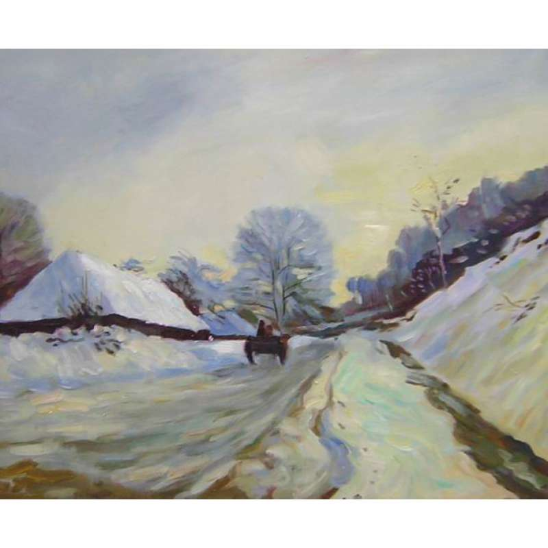 Cart and Road Under Snow Canvas Wall Art