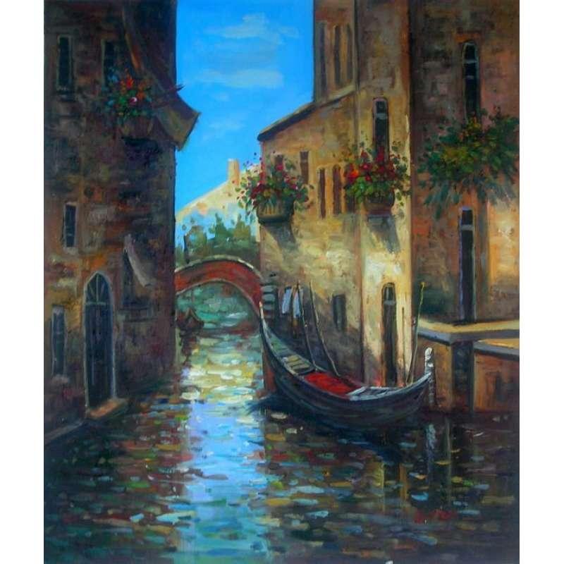 Gondola in Canal Canvas Wall Art