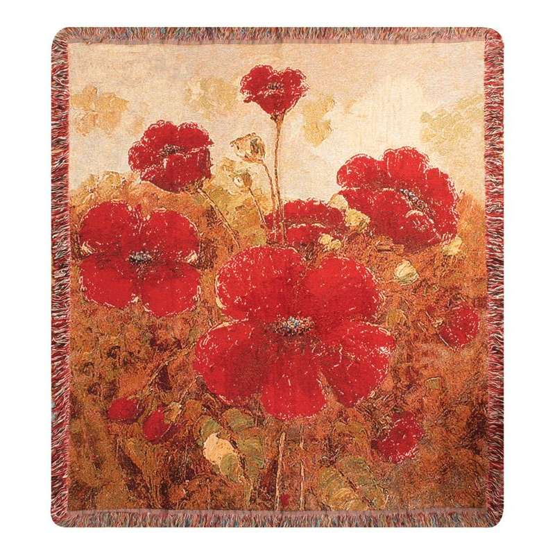 Garden Red Poppies Tapestry Throw