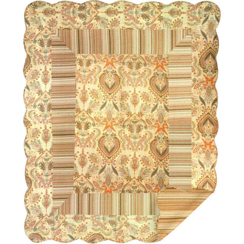 Brown Paisley Stripe Quilt Tapestry Throw