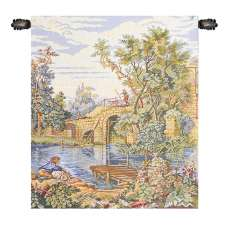 Fishing at the Lake Italian Tapestry Wall Hanging