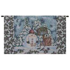 Holiday Snowman Italian Tapestry Wall Hanging