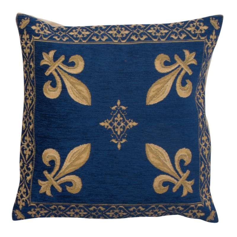 Fleur de Lys Blue III European Cushion Cover