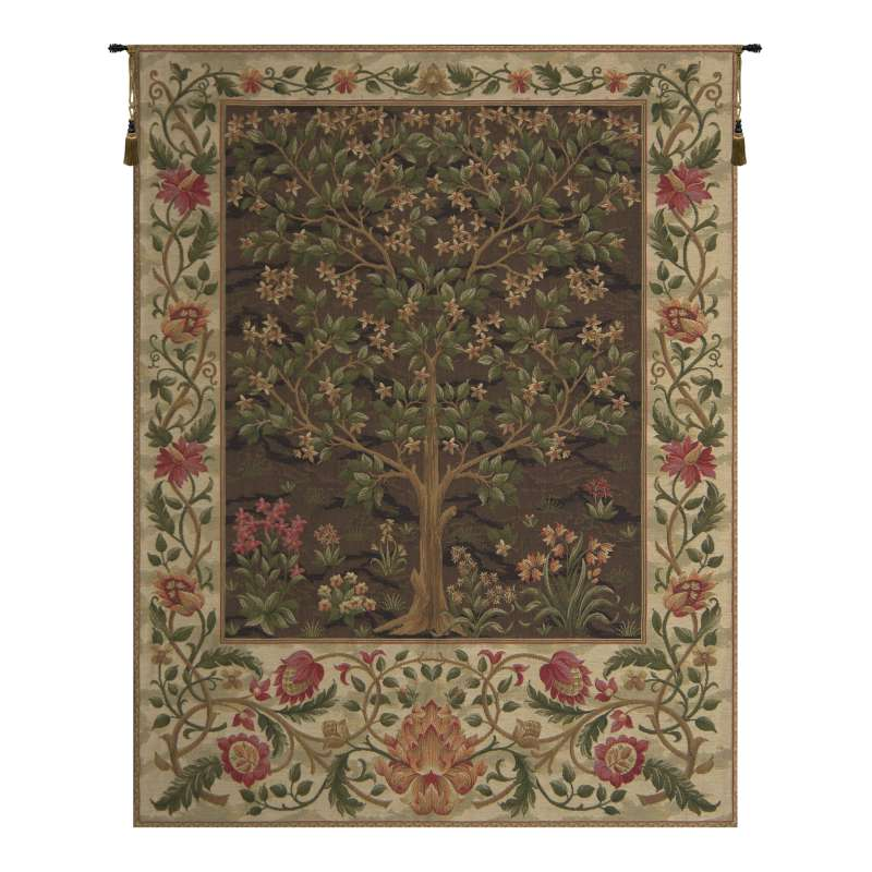 Tree of Life Beige I European Tapestry Wall Hanging
