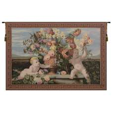 Angels and Flowers Italian Tapestry Wall Hanging