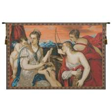Venus Blindfolds Cupid Italian Tapestry Wall Hanging