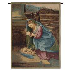Madonna Adoring the Child Italian Tapestry Wall Hanging