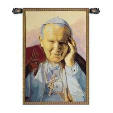 Pope John Paul II Papa Wojtyla Italian Tapestry Wall Hanging