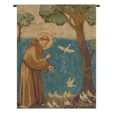 St. Francis Preaching to the Birds Italian Tapestry Wall Hanging