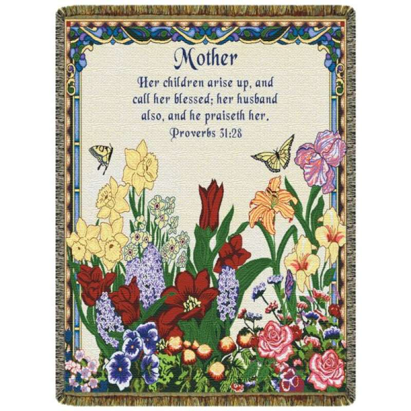 Mother Proverbs 31:28  Tapestry Throw
