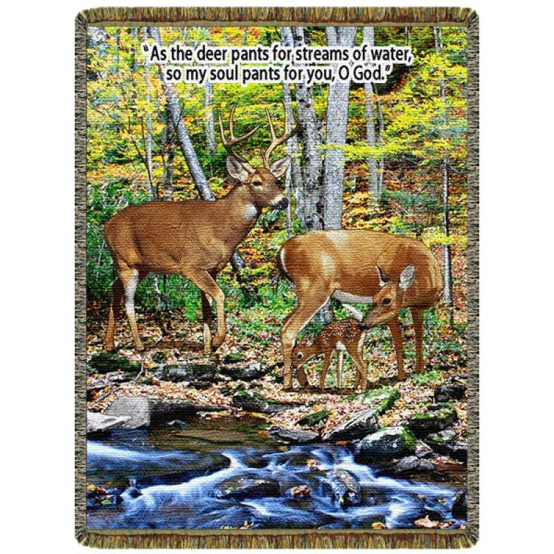 Deer - Streams of Water  Tapestry Throw