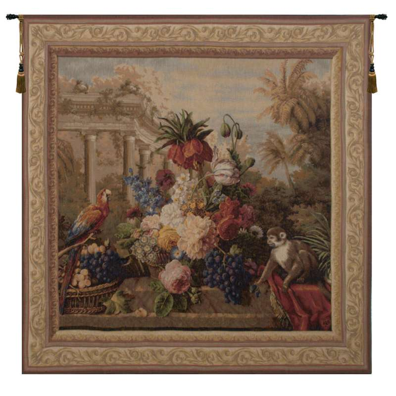 Bouquet Exotique with Monkey French Tapestry