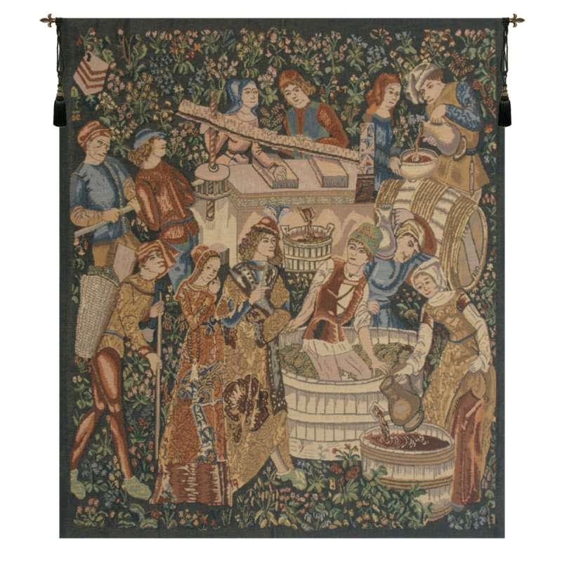 Vendages, Left Side (Rust) Belgian Tapestry