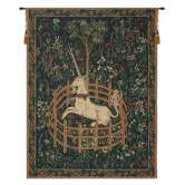 Unicorn In Captivity II (With Border) Belgian Tapestry