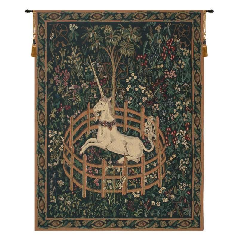 Unicorn In Captivity II (With Border) Belgian Tapestry