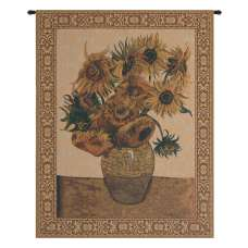 Sunflowers, Beige Belgian Tapestry
